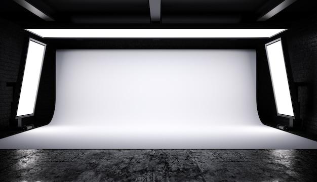 Wnętrze oświetlenia studia fotograficznego z białym tłem w ciemnym pokoju, renderowanie 3d