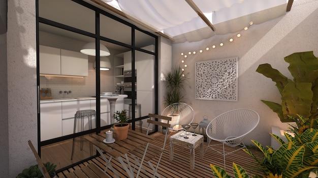 Wnętrze patio i kuchnia w etnicznym stylu boho.