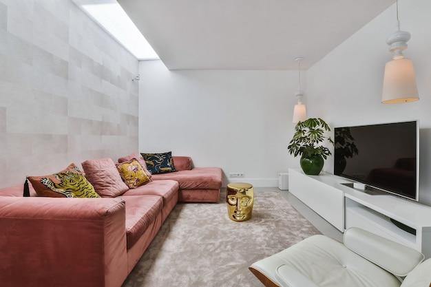 Wnętrze pięknego salonu nowoczesny i luksusowy wystrój pokoju