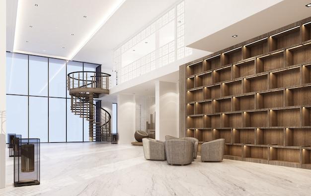 Wnętrze podwójnej przestrzeni mainhall w stylu chińsko-portugalskim z marmurową podłogą i zestawem foteli oraz drewnianym wbudowanym renderowaniem 3d