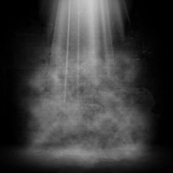 Wnętrze pokoju 3d grunge z efektem reflektora i dymu