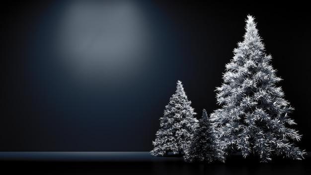 Wnętrze pokoju boże narodzenie wakacje jodła tło 3d ilustracja renderowania