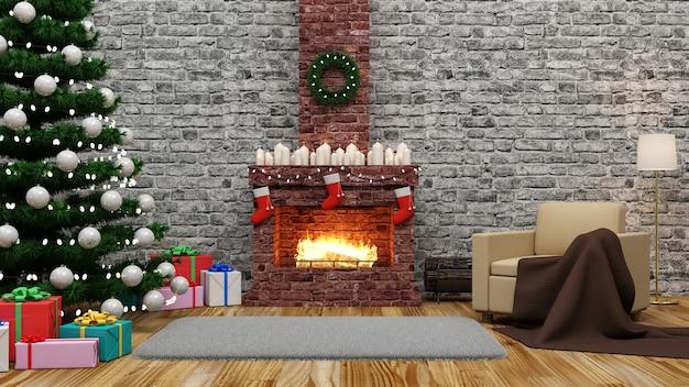 Wnętrze pokoju bożonarodzeniowego z płonącym kominkiem i różnymi akcesoriami na święta nowego roku