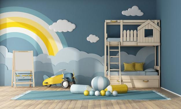 Wnętrze pokoju dziecięcego z drewnianym łóżkiem piętrowym