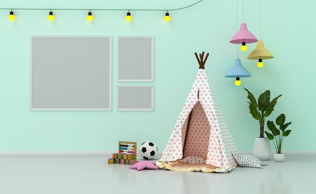 Wnętrze pokoju dziecięcego z uroczą dekoracją i pustymi ramkami na ścianę. renderowanie 3d