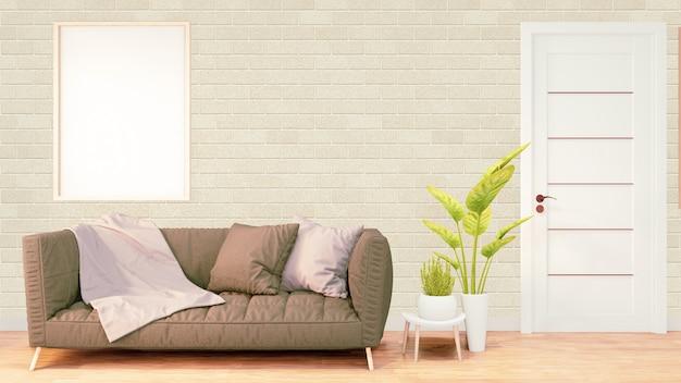 Wnętrze pokoju na poddaszu z szarą sofą i roślinami na drewnianej podłodze i ścianie z cegły. renderowanie 3d