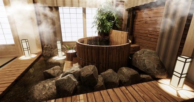 Wnętrze pokoju onsen z drewnianą wanną i dekoracją w stylu japońskim