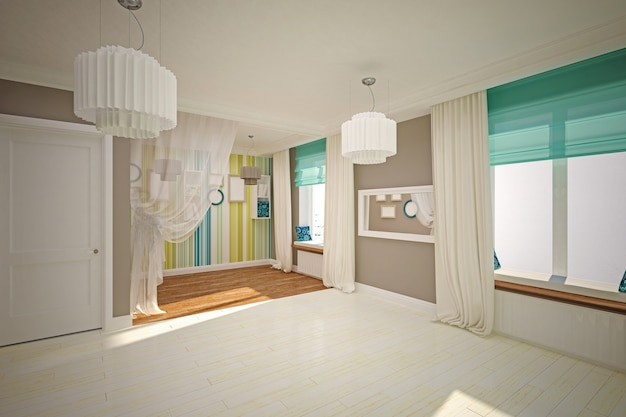 Wnętrze pokoju puste w nowoczesnym stylu