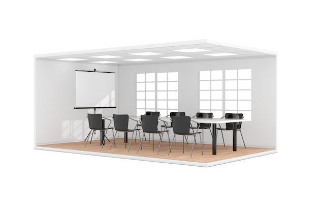 Wnętrze pokoju spotkań biznesowych z dużym oknem, ekran projekcyjny, stół, krzesła i parkiet drewniany na białym tle. renderowanie 3d