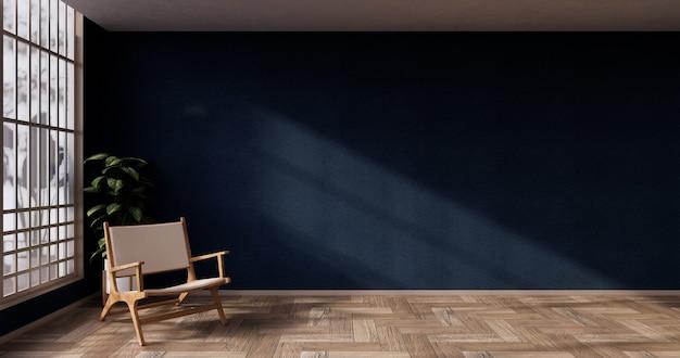 Wnętrze pokoju w kolorze niebieskim z papierem drzwiowym i ścianą półki szafki na podłodze maty tatami w stylu japońskim. renderowanie 3d