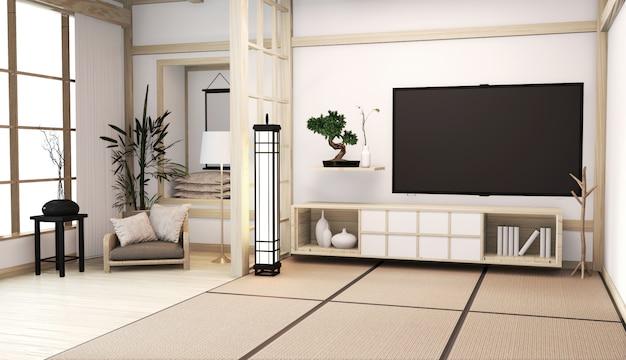 Wnętrze pokoju w stylu japońskim z szafką na podłodze w pokoju tatami mat drewniany pokój minimalna dekoracja rośliny baboo. renderowanie 3d