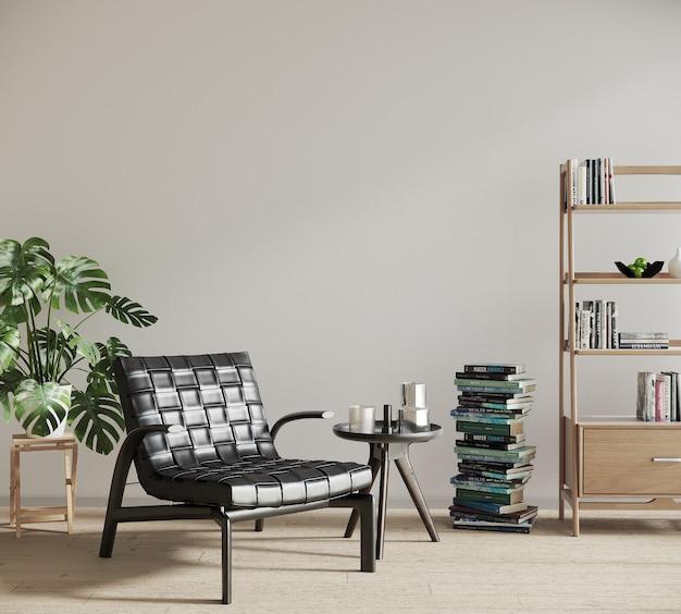 Wnętrze pokoju w stylu nordyckim z roślinami i książkami