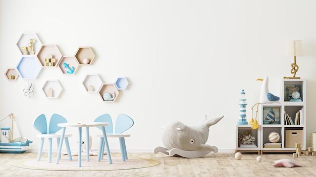 Wnętrze pokoju zabaw dla dzieci z zabawkami, meblami dla dzieci, stołem z krzesłami, półkami renderowania 3d