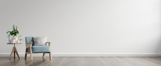 Wnętrze posiada fotel na pustej białej ścianie, renderowanie 3d