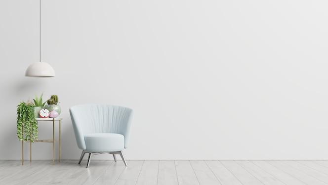Wnętrze posiada fotel na pustym tle białej ściany, renderowanie 3d