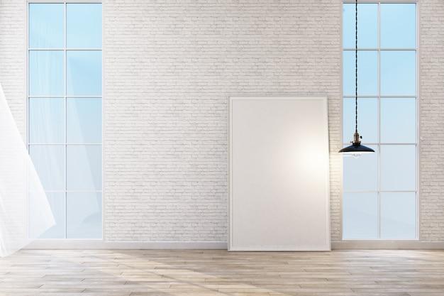 Wnętrze przestrzeń sypialnia z białej ściany cegła renderowania 3d