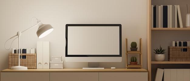 Wnętrze przestrzeni roboczej w nowoczesnym skandynawskim stylu z pustą makieta ekranu komputera renderowania 3d