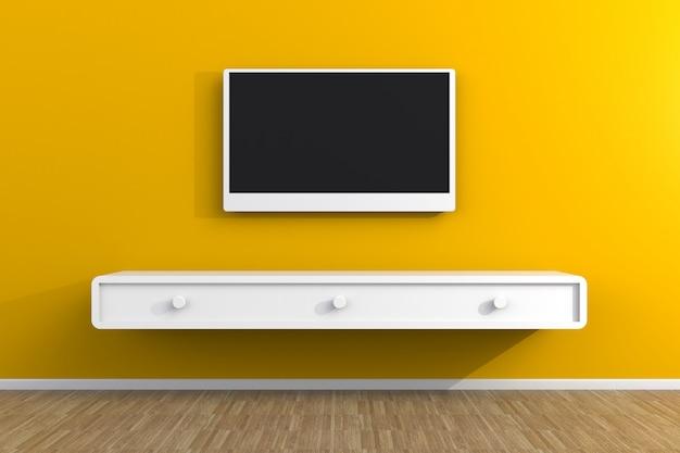 Wnętrze pustego pokoju z telewizorem, salon led tv