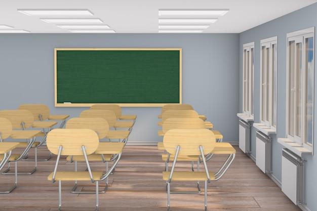 Wnętrze pustej klasy szkolnej. ilustracja 3d. powrót do szkoły