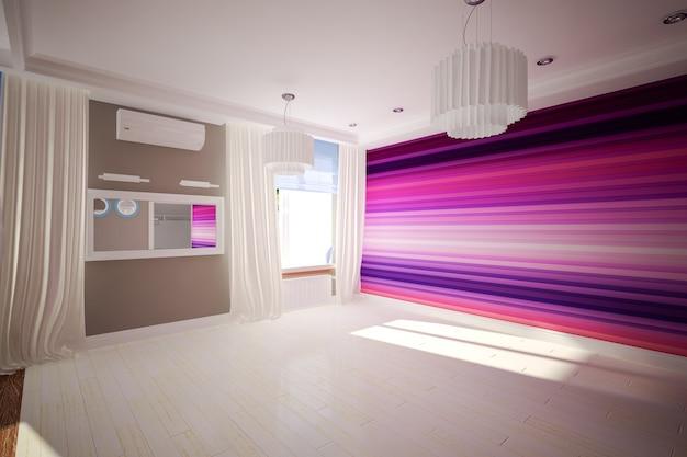 Wnętrze pusty pokój w nowoczesnym stylu. projektowanie wnętrz