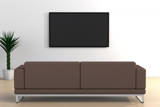 Wnętrze pusty pokój z tv i kanapą, żywy pokój prowadził tv na biel ściany nowożytnym stylu, 3d rendering
