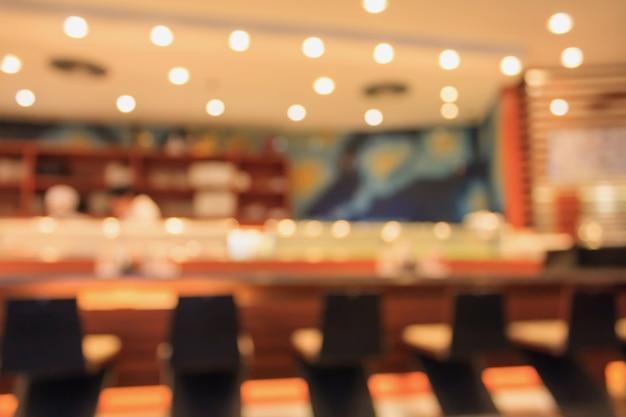Wnętrze restauracji japońskiej rozmazane tło
