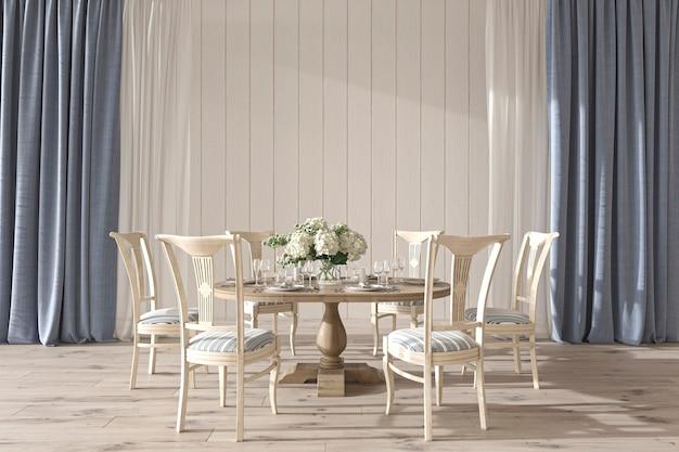 Wnętrze sali weselnej w stylu nadmorskim ze stołem jadalnym w stylu hampton 3d render ilustracji