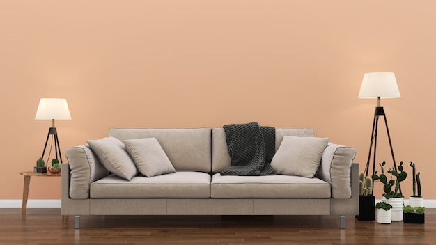Wnętrze salon różowy pastelowe ściany drewniane podłogi wnętrze sofa krzesło lampa