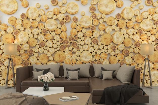 Wnętrze salon ściana z bali biała brązowa sofa drewniana betonowa podłoga