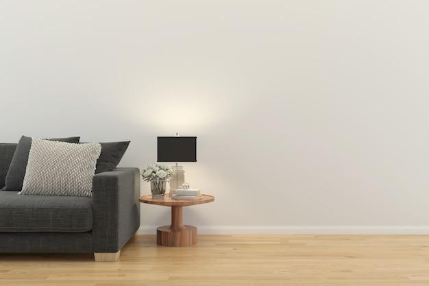 Wnętrze salonu. 3d odpłacają się drewnianą podłogową drewnianą ścienną projekt kopii przestrzeń
