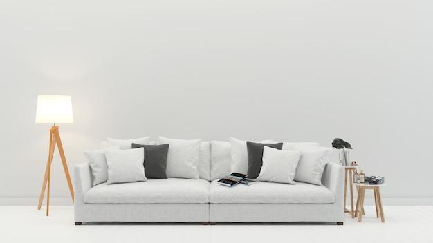 Wnętrze salonu biała kanapa skandynawska ściana drewniana podłoga tło