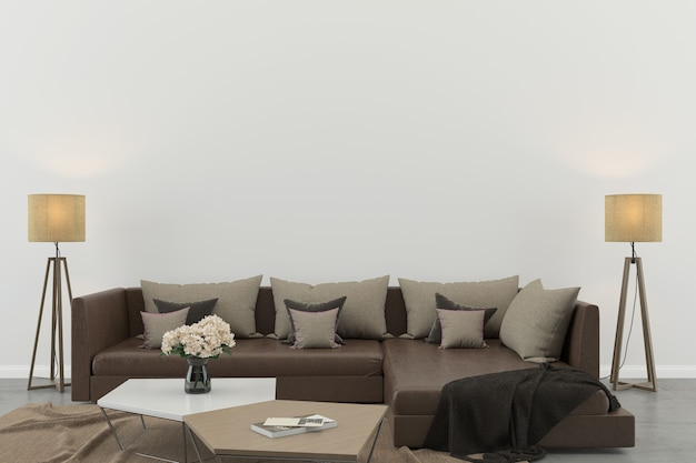 Wnętrze salonu biała ściana betonowa podłoga wnętrze sofa krzesło lampa