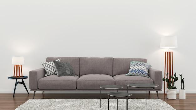 Wnętrze salonu biała ściana drewniana podłoga wnętrze sofa krzesło lampa