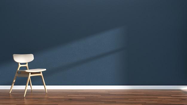 Wnętrze salonu ciemnoniebieska ściana podłoga z drewna wnętrze sofa krzesło