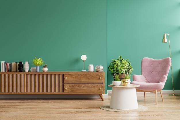 Wnętrze salonu ma szafkę i różowy fotel z zieloną ścianą. renderowanie 3d