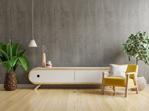 Wnętrze salonu ma szafkę na telewizor i skórzany fotel w pokoju cementowym z betonową ścianą. renderowanie 3d