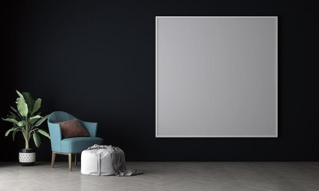 Wnętrze salonu makieta w ciepłych neutralnych kolorach z sofą w nowoczesnym, przytulnym stylu dekoracji na pustej płóciennej ramie na niebieskim tle ściany