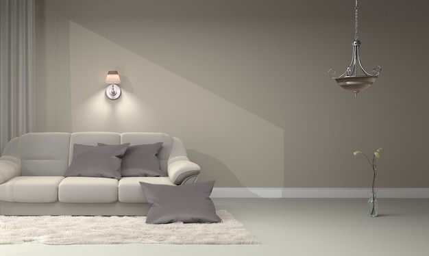 Wnętrze salonu - nowoczesny współczesny luksus. renderowania 3d
