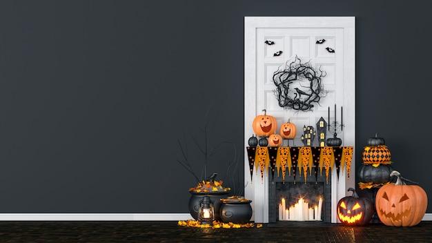 Wnętrze salonu ozdobione lampionami i dyniami na halloween