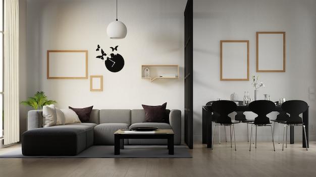 Wnętrze salonu plakat z kolorową białą sofą