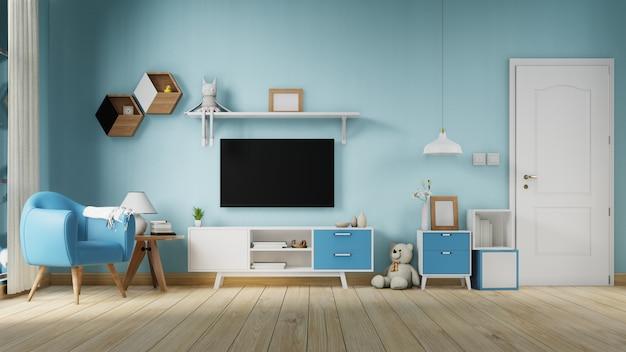 Wnętrze salonu plakat z kolorową białą sofą.