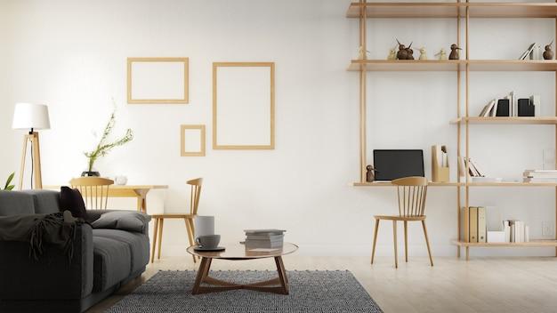 Wnętrze salonu plakat z sofą