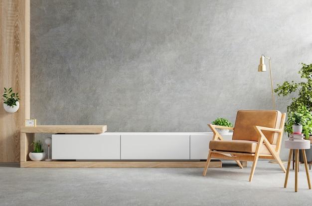 Wnętrze salonu posiada drewnianą szafkę na telewizor i skórzany fotel w cementowni z betonową ścianą. renderowanie 3d