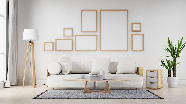 Wnętrze salonu puste ramki z białą sofą. renderowanie 3d.