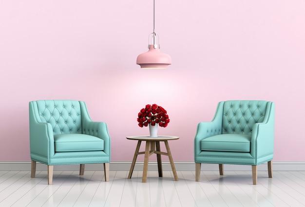 Wnętrze salonu różowy pokój z fotelem i róża.