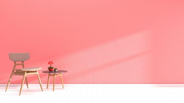 Wnętrze salonu różowy ściana drewniana podłoga wnętrze sofa krzesło lampa
