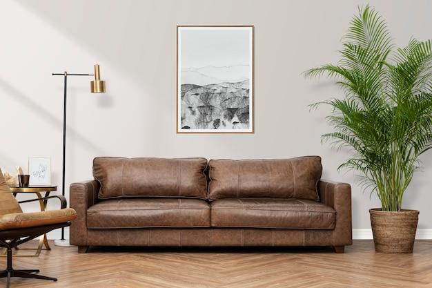 Wnętrze salonu w luksusowym stylu industrialnym