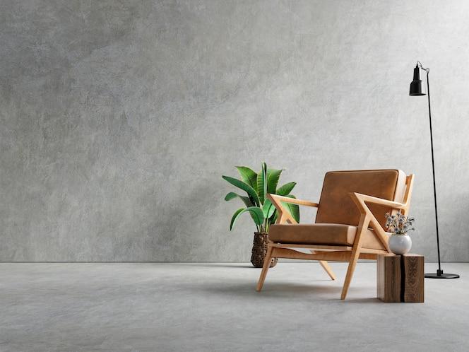 Wnętrze salonu w mieszkaniu na poddaszu z fotelem, betonowa ściana. renderowanie 3d