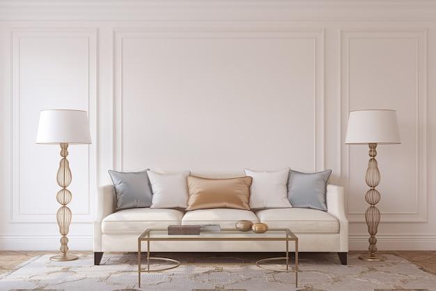 Wnętrze salonu w stylu neoklasycystycznym. makieta. renderowania 3d.