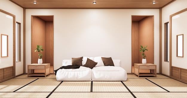 Wnętrze salonu w stylu tropikalnym z projektowaniem ścian. renderowania 3d